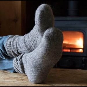 Thick wool socks for women or men in grey